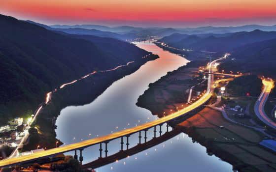 korea, река, мост