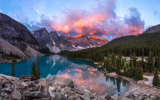 природа, всей, долина, сша, своей, красоте, banff, канадский, парке, монументов,