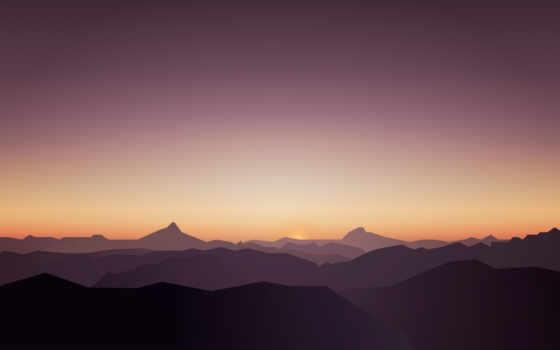 mountains, закат, minimal