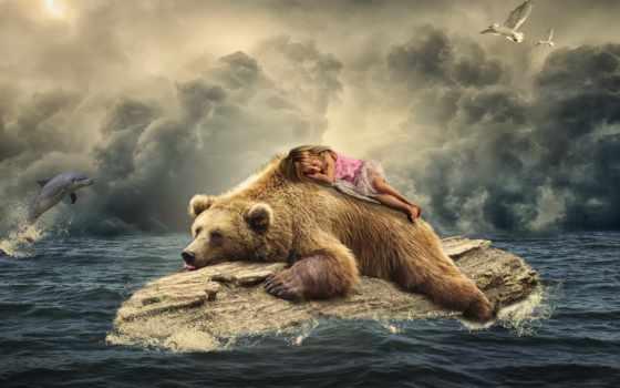 девушка, медведь, заставки, море, спящая, art, браун, дельфин,