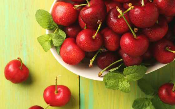 еда, ягоды, вишни, мята, cherry, cookies, кружка, красные,