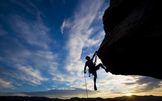 экстрим, спорт, закат, скалолазание, человек, climber, небо, eur, rock, von, silhouette,