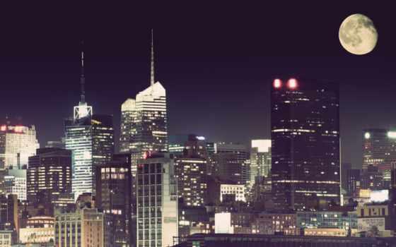 город, луна, ночь