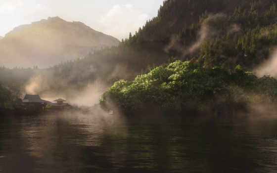 vue, озеро, холмы, дома, complete, fone, water, гор, atm, азия,