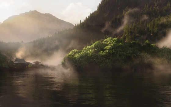 vue, озеро, холмы