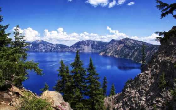 озеро, crater, park, небо, сша, usa, oregon, vandusen,