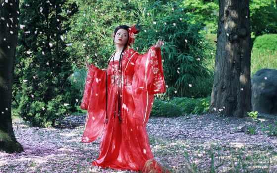 лепестки, cherry, кимоно, desktop, free, tapeta,