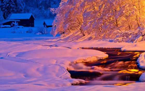winter, вечер, свет, природа, река, ночь, снег, поток,