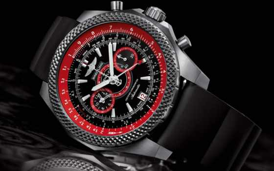 часы, breitling, наручные, bentley, циферблат, красный,