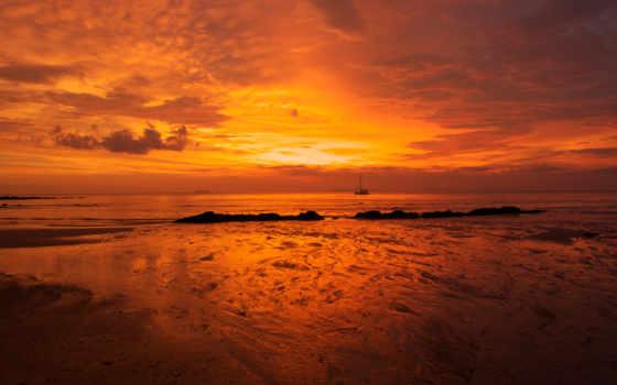 закат, небо, море, daler, природа, оранжевый, пляж, landscape, water, берег, закаты,