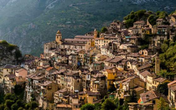 франция, гора, город, cities, деревня, houses, villages,