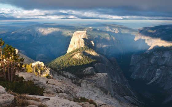 горы, горизонт, гряда, height, отдых, ландшафты, clouds, свет, думка, yosemite, park,