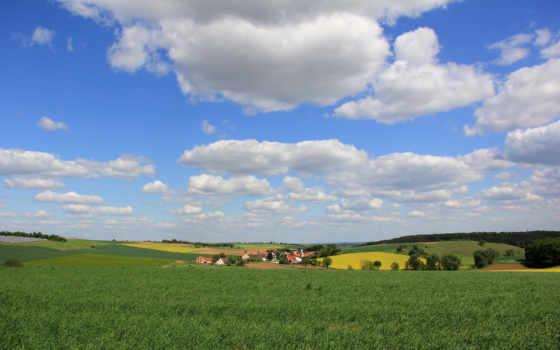 paisagem, campo, rural, parede, nuvens, aldeia,