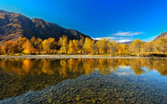 алтай, гора, алтая, осень, горного,
