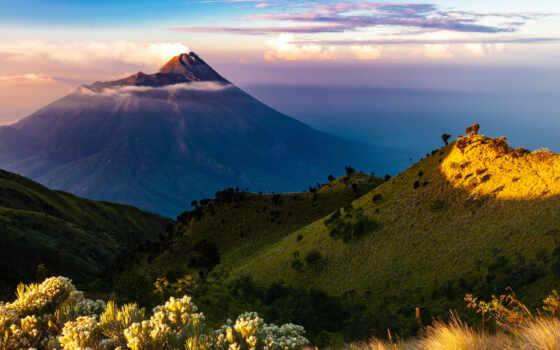 гора, вулкан, индонезийский, утро, остров, день