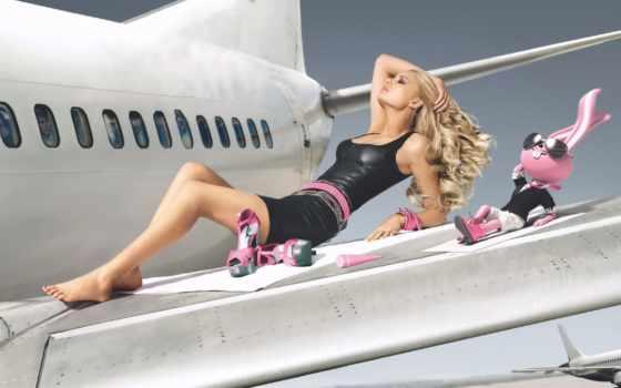 самолета, крыле, девушка