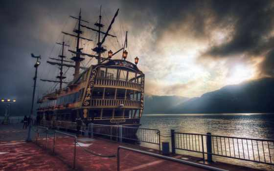 корабль, озеро, tall, фрегаты, ships, пиратский, корабли, free, ashi,