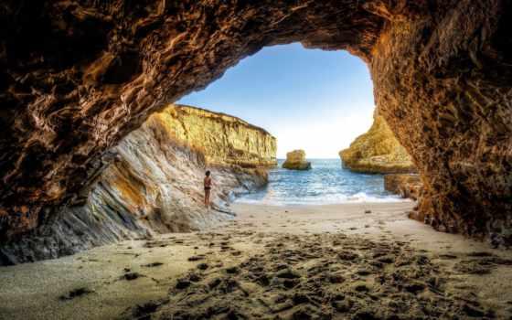 грот, скалы, море, девушка, природа, пейзажи -, берегу, песок, ocean, rock,