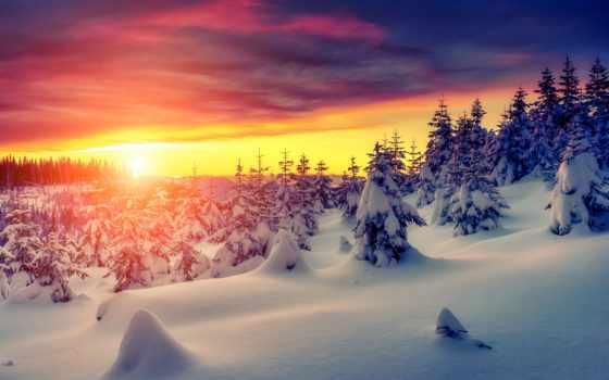 winter, природа, снег, landscape, закат, white, небо,
