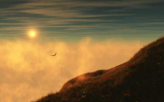 гора, туман, landscape,