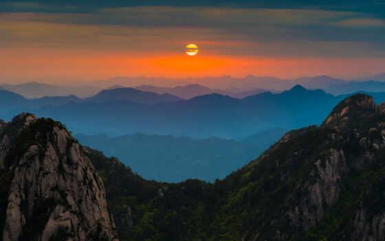 гора, закат, долина, плакат, print, природа, китаянка