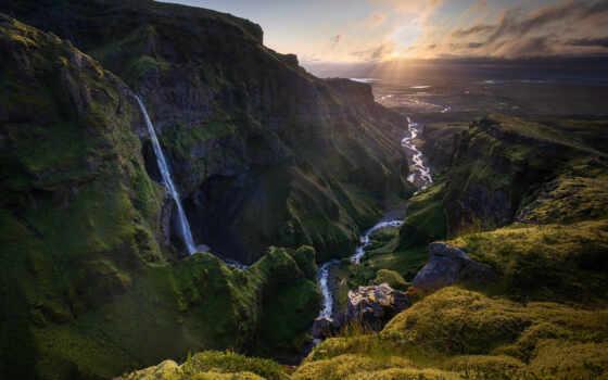 водопад, каньон, pulpit, które, iceland, kliknięciem, jednym, pulpicie, wodospad
