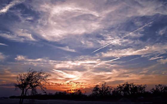 небо, облаками, красивых