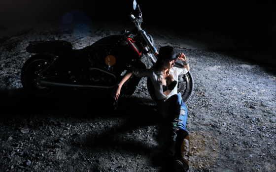 мотоцикл, ночь, sexy