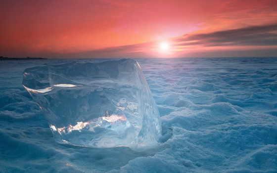 холод, снег, лед, закат, льдина,