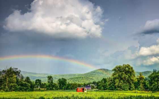 campo, arco, montañas, paisaje, casas, fondos, gratis, casa, montanhas, iris,