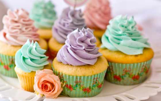 кексы, мороженое, кремом, десерт, выпечка, candy, cvety, еда, разноцветные, роза, фиолетовым,