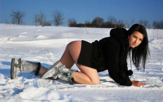 girls, снег, погода, холод, sexy, девушка, hot, попы, brunette, winter,
