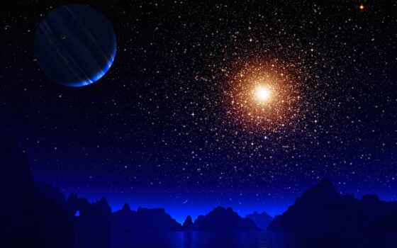 ночь, star, фото, earth, artist, луна, фон, blue, окно