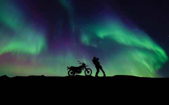 пара, northern, огни, силуэт, aurora, borealis, мотоцикл, romantic, друг, девушка