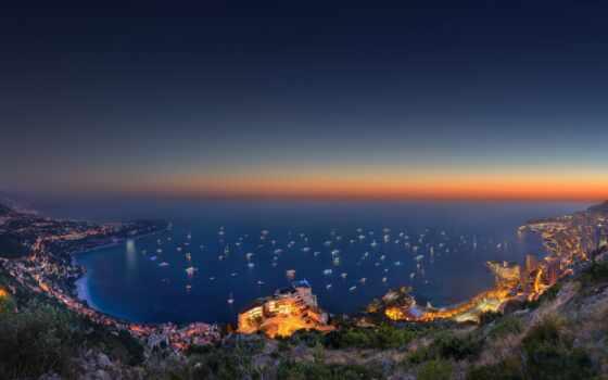 monaco, город, гора, море, закат, взгляд, top, снег, вечер, world