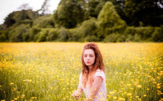 поле, девушка, summer