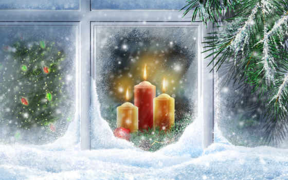 окна, новый год, декор