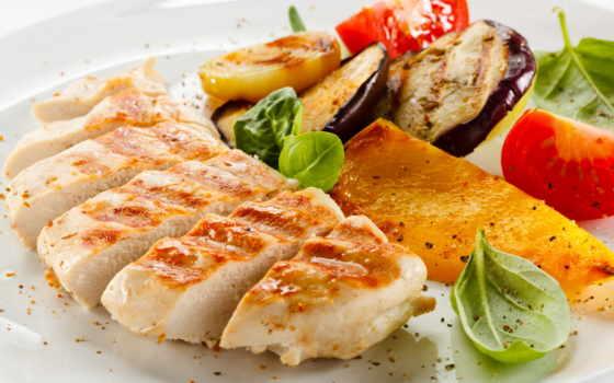 гриле, филе, куриное, еда, grill, овощами, приготовления,