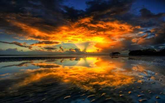 закат, природа, пак, small, отражение, закаты, distance, вектор, пейзажи -,