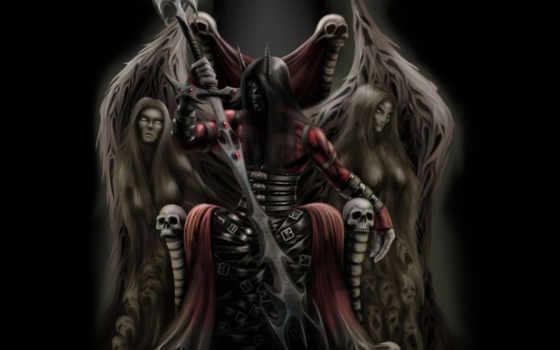 демон, огонь, троне, войны, женщина, трон, fantasy, злость, darksiders, lord,