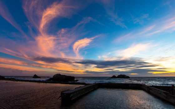 закат, full, природа, небо, дождь, облако, clouds, фон,