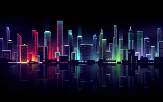 , неон, городской пейзаж, столица, город, населенный пункт, отражение, свет, неоновый, небоскреб, горизонт,