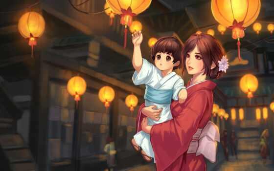 anim, девушка, ребенок, art, anime, люстра, mid, illustration, architectural, осень