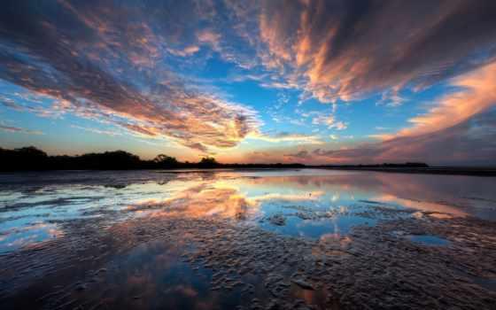 закат, облака