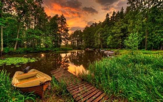 природа, закат, лес, пейзаж, добавил, река, internet, лодки,