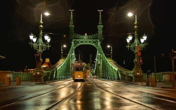 budapest, ночь, город, фонари, мост, трамвай,