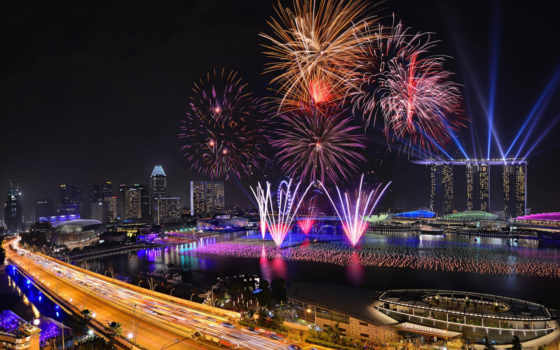 singapore, fireworks, new