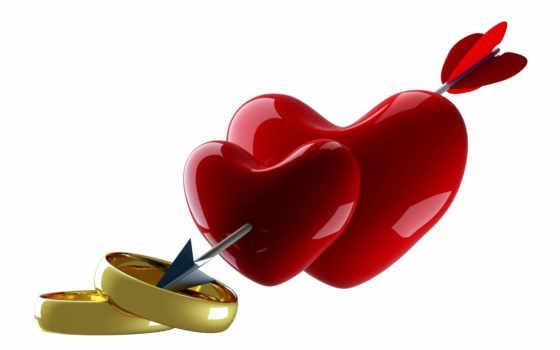 сердца, стрелой, два