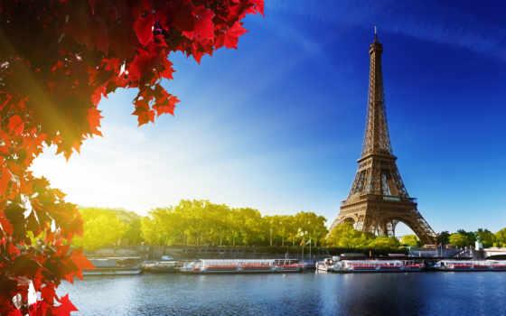 париж, фоны, франция, turret, эйфелева, город,
