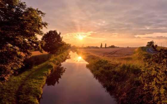 река, sun, отражение